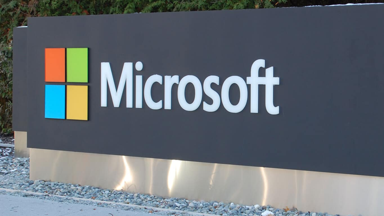 Microsoft sign with rocks