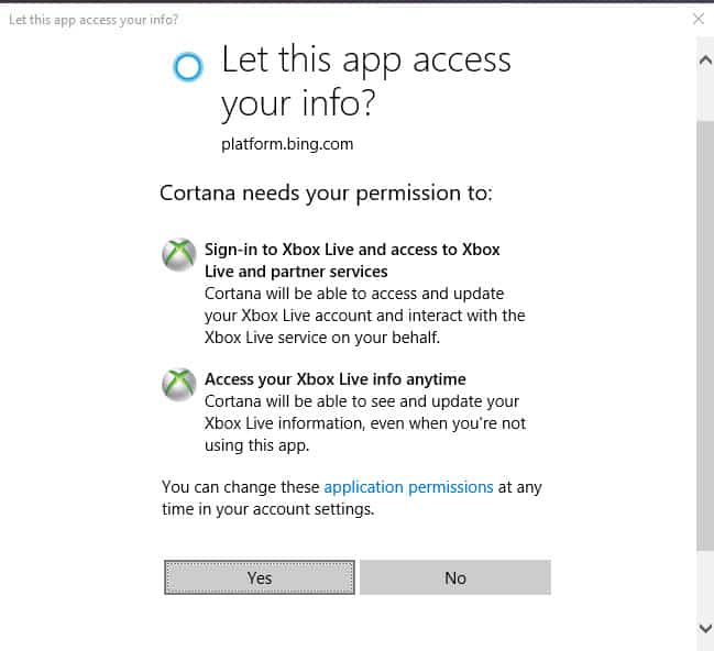 Cortana really wants to connect to xbox live in all windows 10 builds