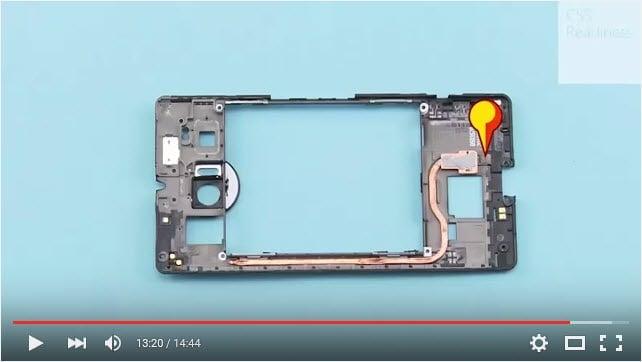 The Lumia 950's liquid cooling pipe.