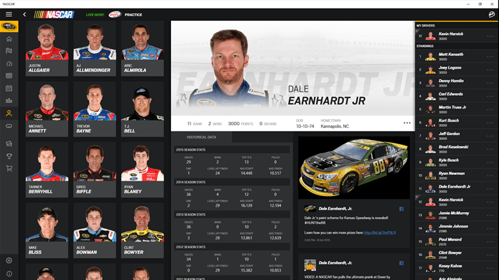 NASCAR app for Windows 10