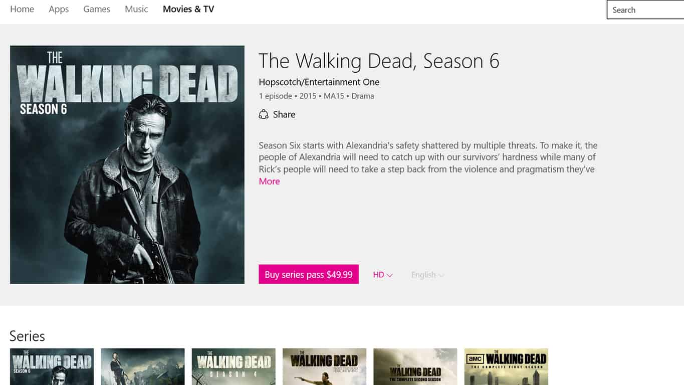 The Walking Dead Season 6 in the Movies & TV app