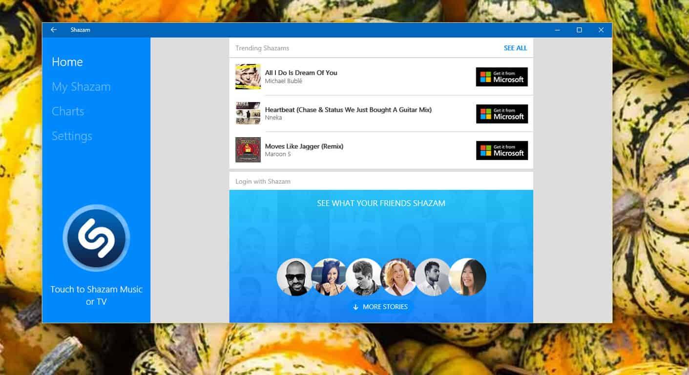 Shazam on Windows 10