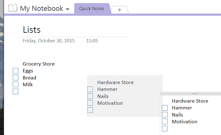 OneNote is great at making lists for shopping or to-dos