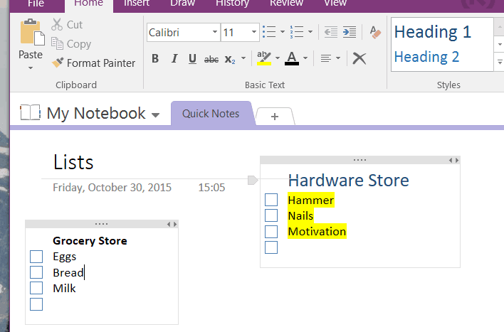 Many of the formatting features from other Office programs are in OneNote, but not everything