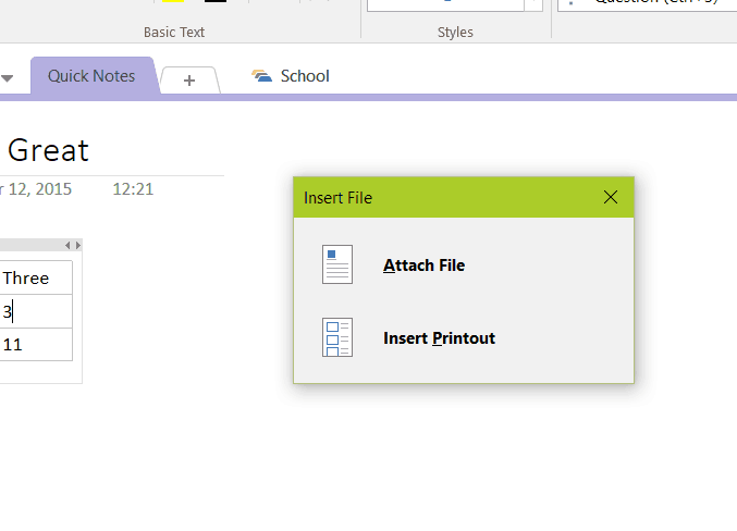 Files can be attached or added as printouts