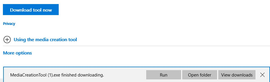 In Edge, the download options look like this.