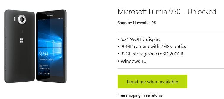 Lumia 950 Nov 25