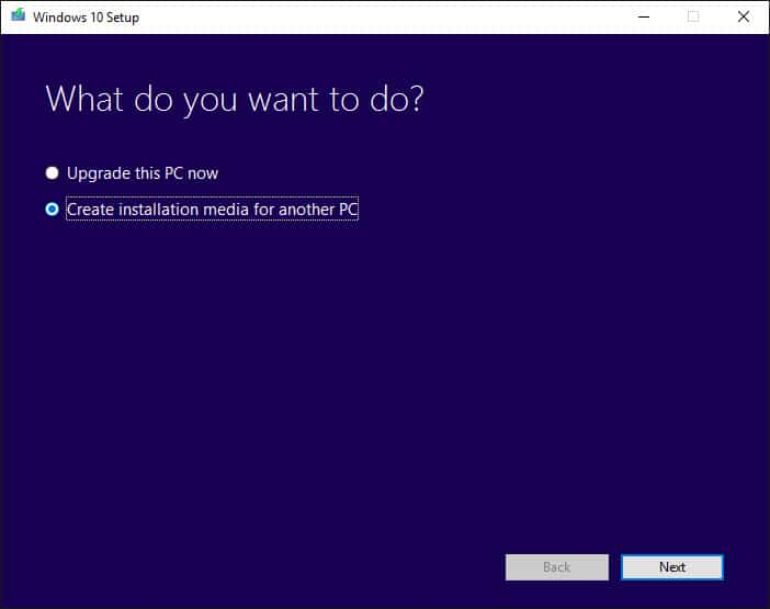 """Select """"Create installation media for another PC."""""""