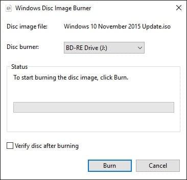 Windows Disc Image Burner.