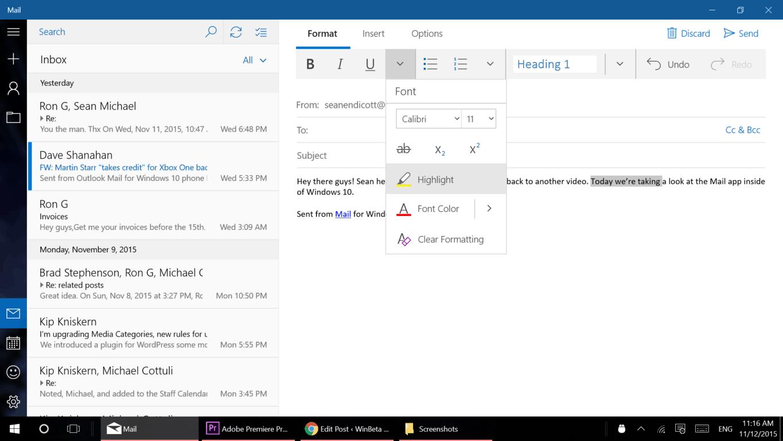 Windows 10 in-depth: Mail app (video) | On MSFT