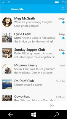 The new GroupMe for Windows 10 Mobile