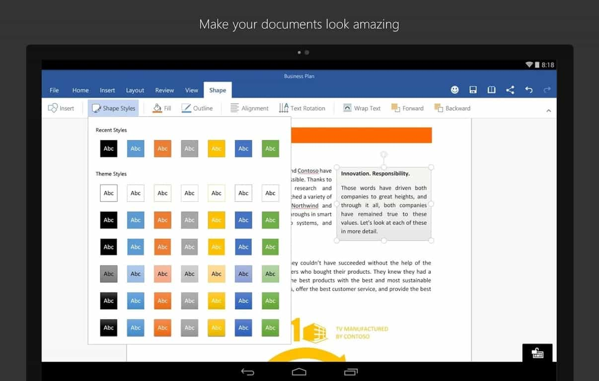 Office for android updated with cloud font downloads and reduced app size - Office apps for android free ...