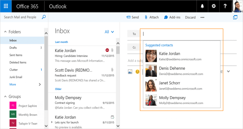 Outlook on the Web Suggested Contacts