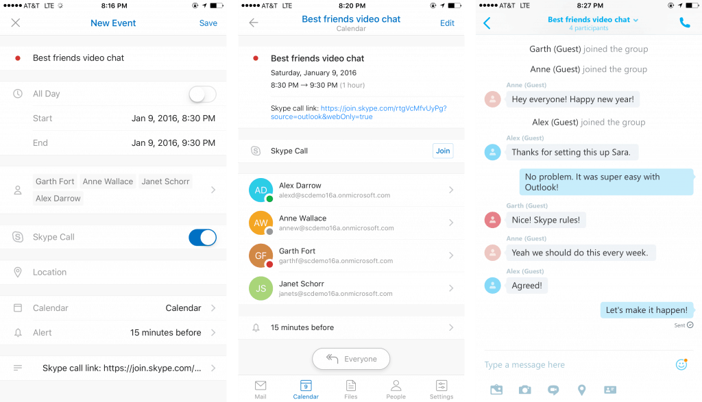 Outlook iOS Android Skype Support