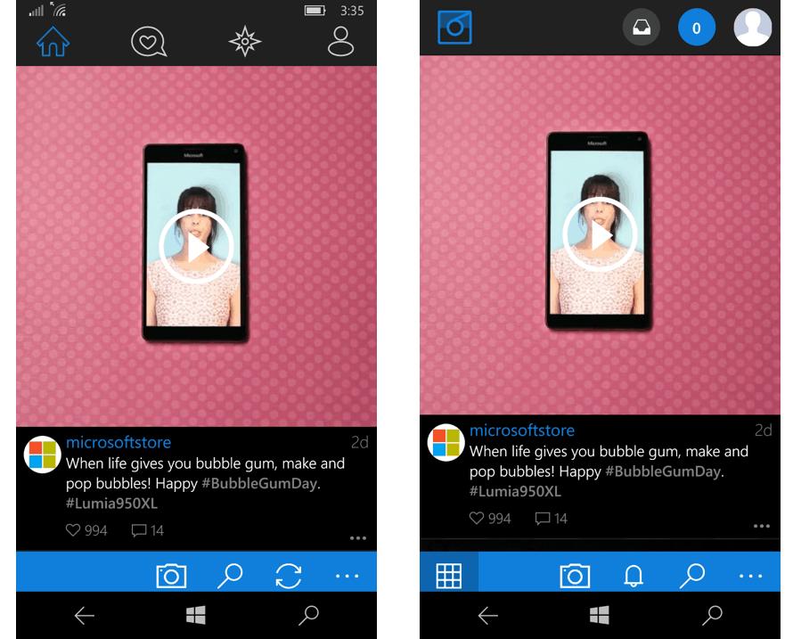 Left: Modern design / Right: Polaroid design