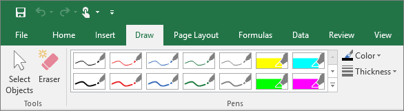 Excel 2016 annotations.