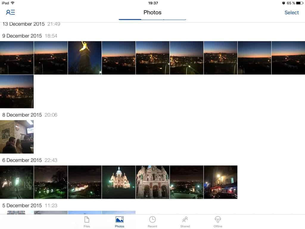 Browsing a huge Onedrive camera roll is cumbersome on iOS.