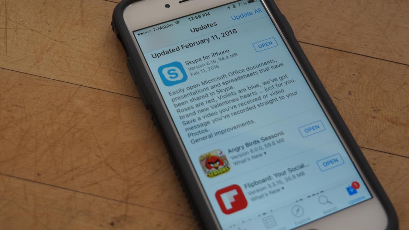 Skype for iPhone Update Valentines Day