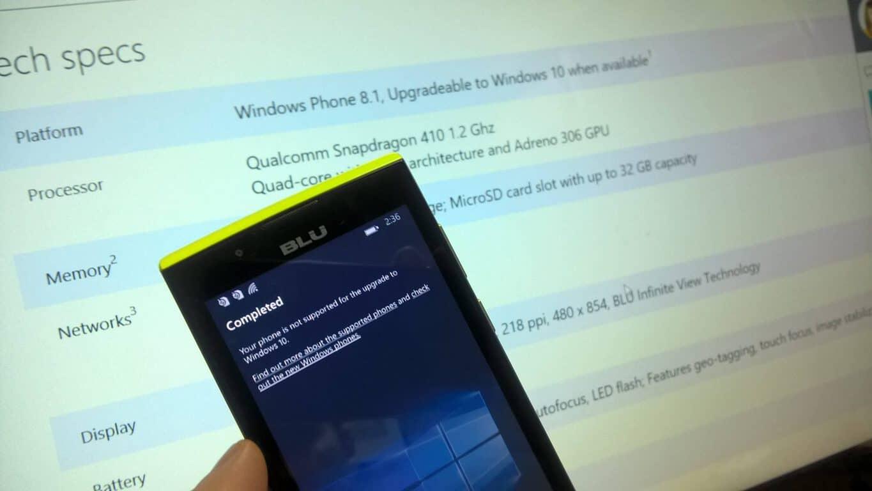 Blu Win Jr LTE Windows 10 Mobile Upgradeable UpdateAdvisor