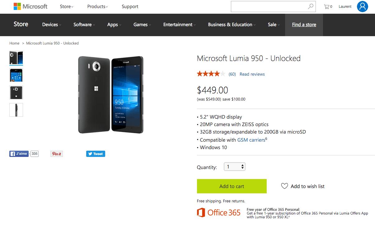 Get an unlocked Lumia 950 for $449 through 3/27