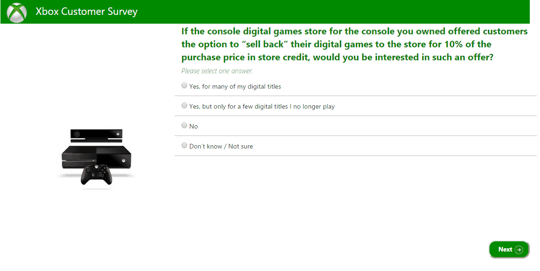 Microsoft's Xbox customer survey