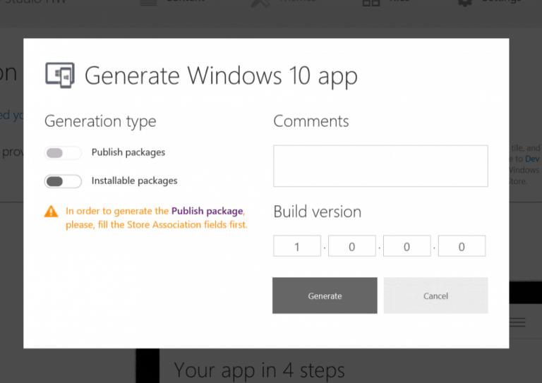 Windows App Studio Generate