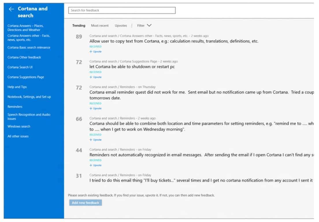 Cortana Feedback Hub 1
