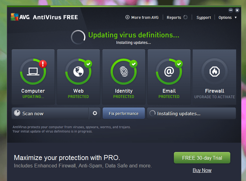 AVG on Windows 10