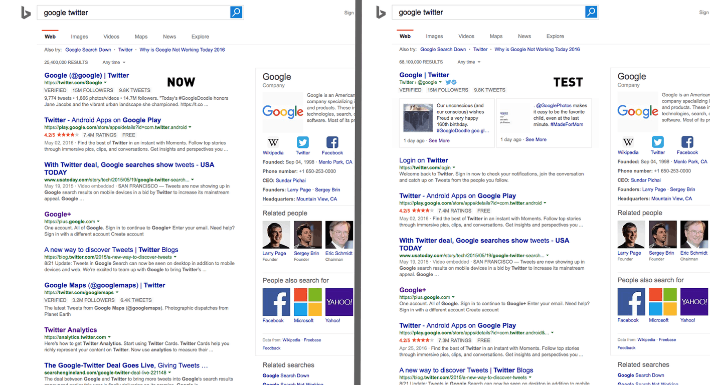 Bing is testing a new way to display tweets in its search results. (credit: Rubén Gómez).