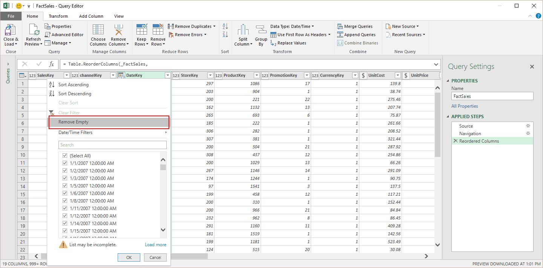 Remove blanks via Column Filter menu.