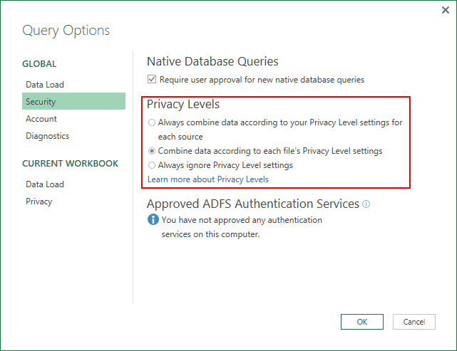 The Query Options dialog features three privacy options.