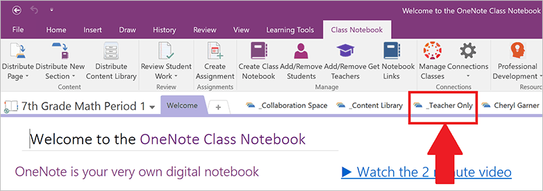 OneNote Teacher's only space