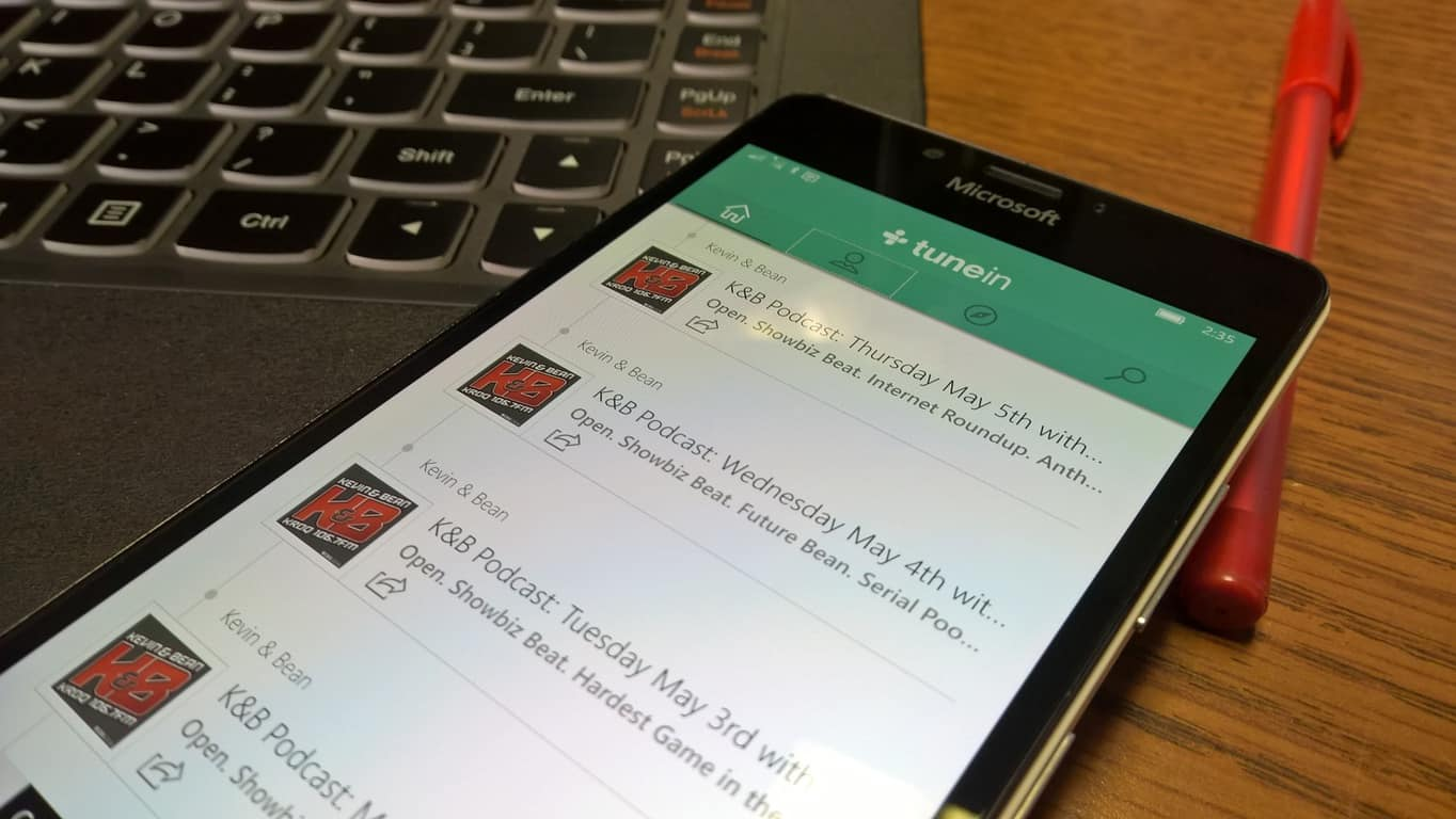 TuneIn Radio Windows 10 Mobile app