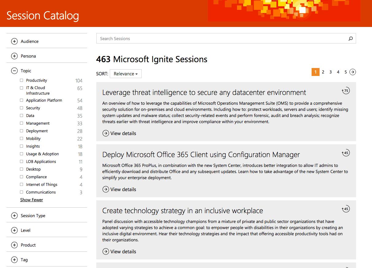 Microsoft's Ignite 2016 Session catalog.