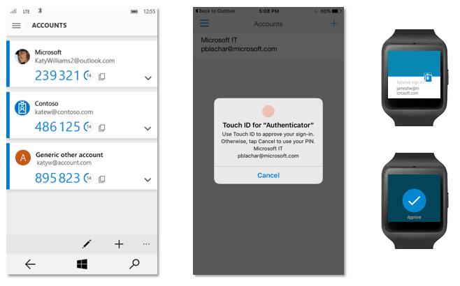 The new Microsoft Authenticator app supports wearables and TouchID on iOS devices.