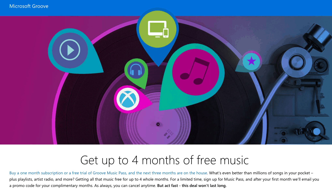 Get free music for up to 4 whole months.