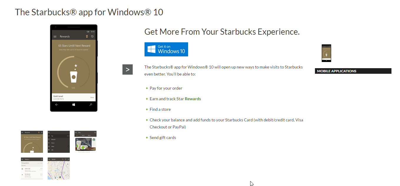 Starbuck 39 s official universal windows 10 app shows up on for Windows 10 official site