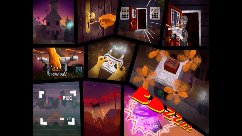 The cutscenes in TurnOn also feature the game's distinctive art style.