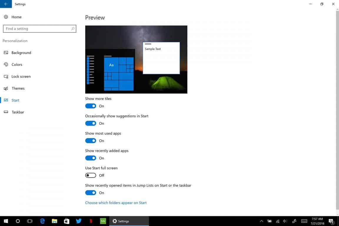 Windows 10, Start, Anniversary Update