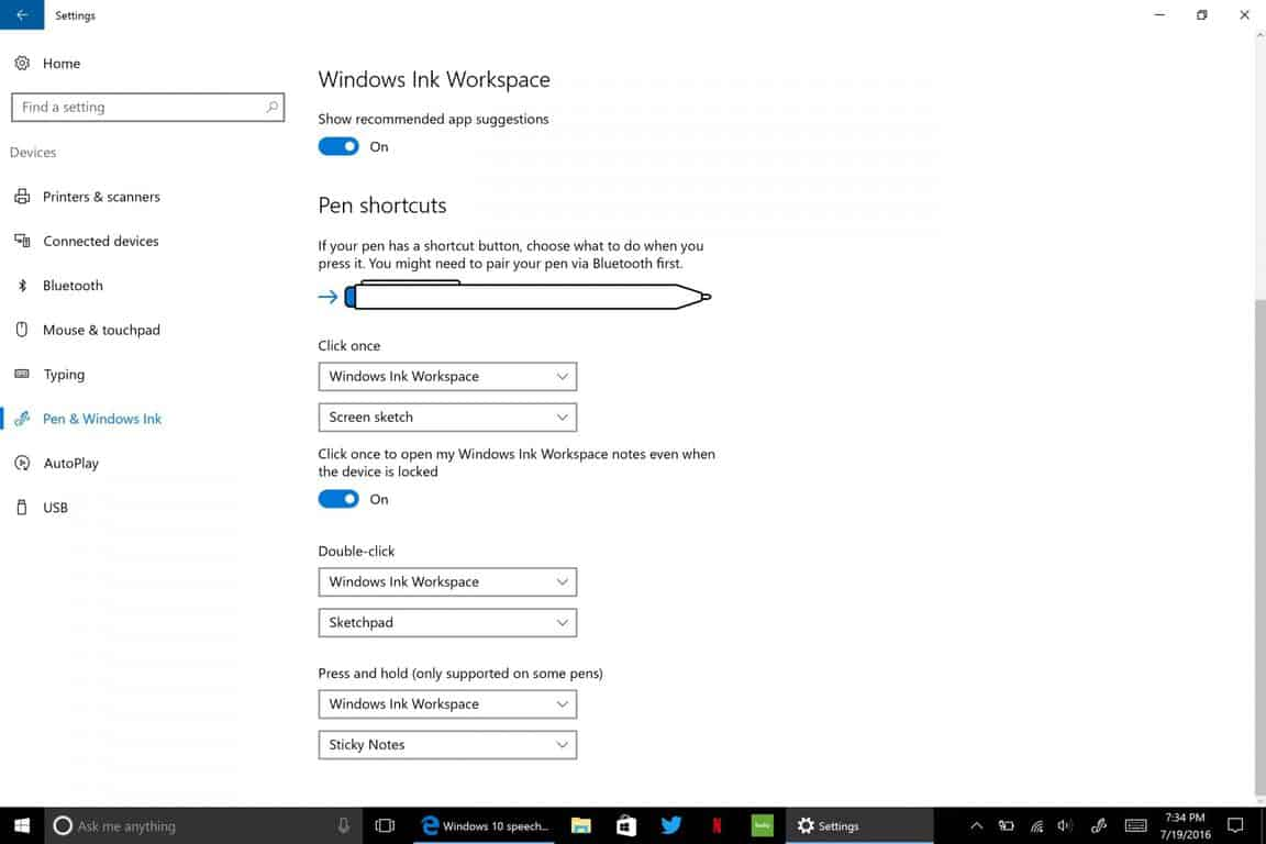 Windows Ink Workspace