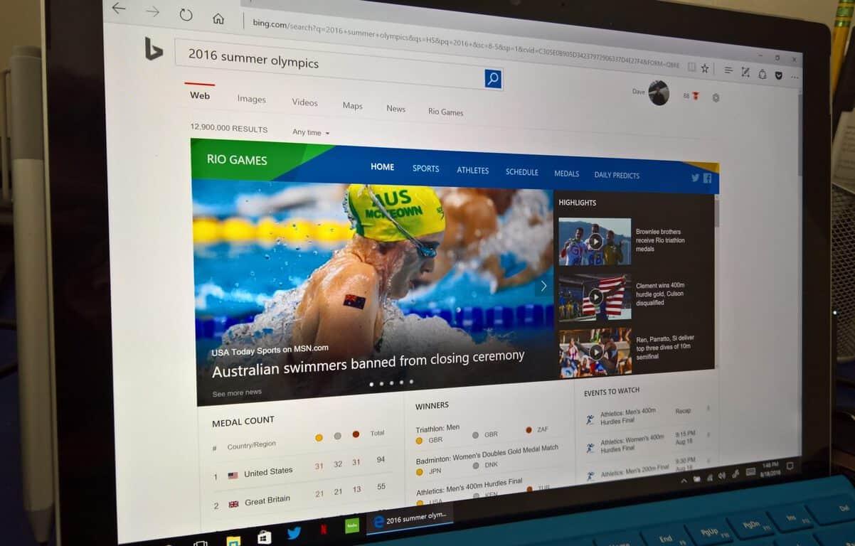Bing, Olympics, Summer Games, 2016