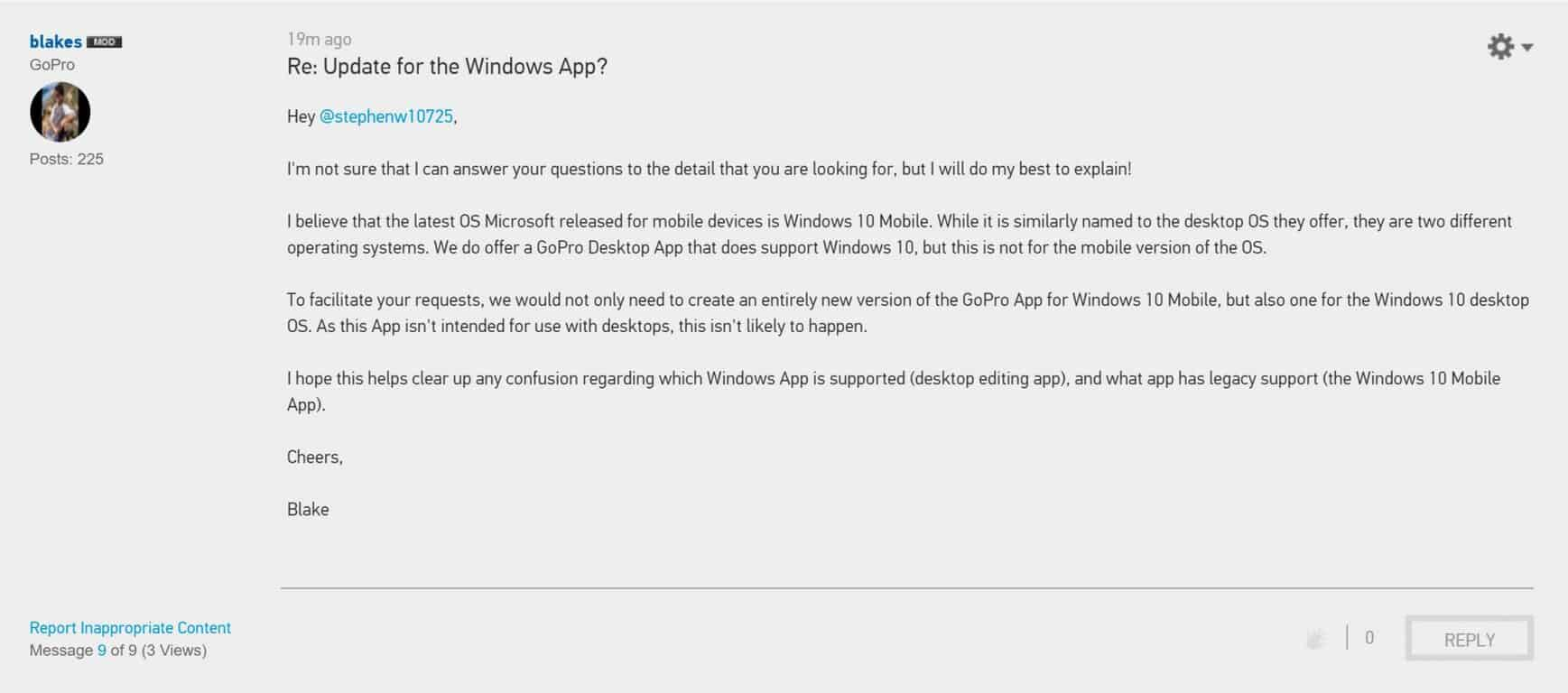 gopro GoPro: Windows 10 Mobile app not likely to happen, as we would need to recreate our desktop program