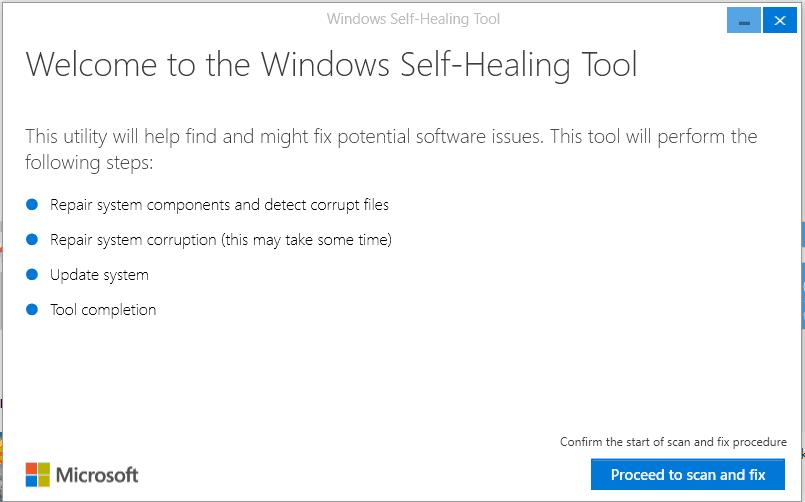 Screenshot of the Windows Selfhealing patch