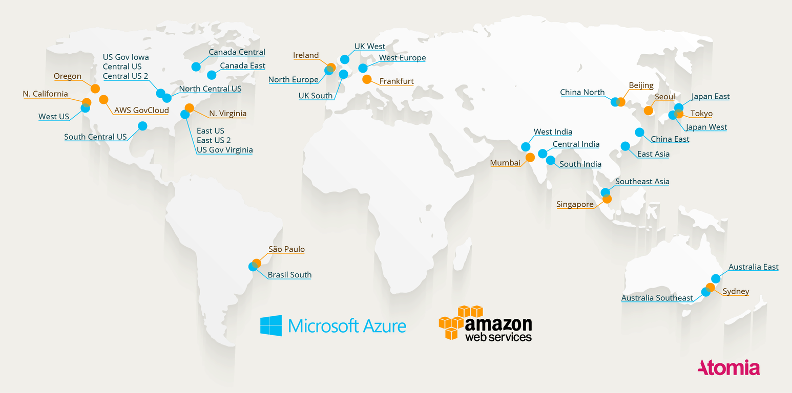 Where Are The Datacenters Heres A Map Of All The Azure And AWS - Microsoft world map