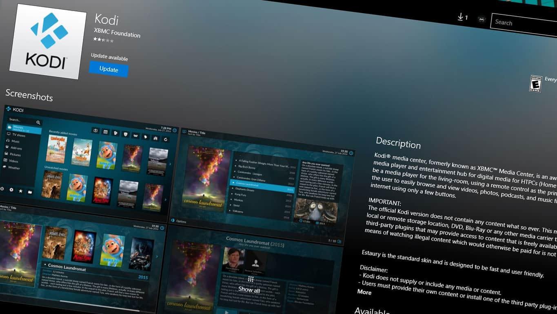 Kodi app on Windows 10