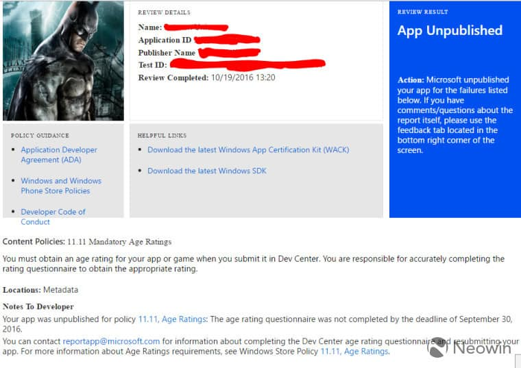 Microsoft is currently sending emails to developers who didn't comply with the new age rating policy.