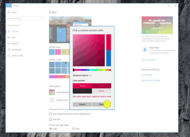 Windows 10 creators update will allow selecting a custom accent color - onmsft. Com - october 26, 2016