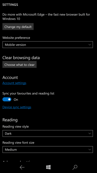 Setting to change default browser spotted in Windows 10 Mobile build 14946 OnMSFT.com October 14, 2016