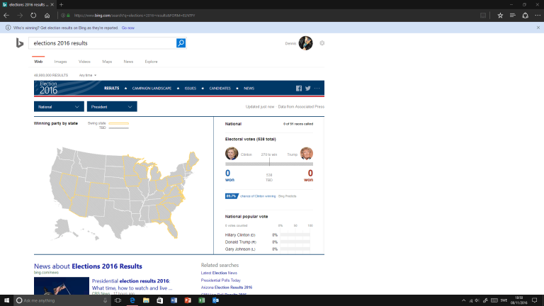 Clinton or Trump? Follow the US elections on Bing OnMSFT.com November 8, 2016