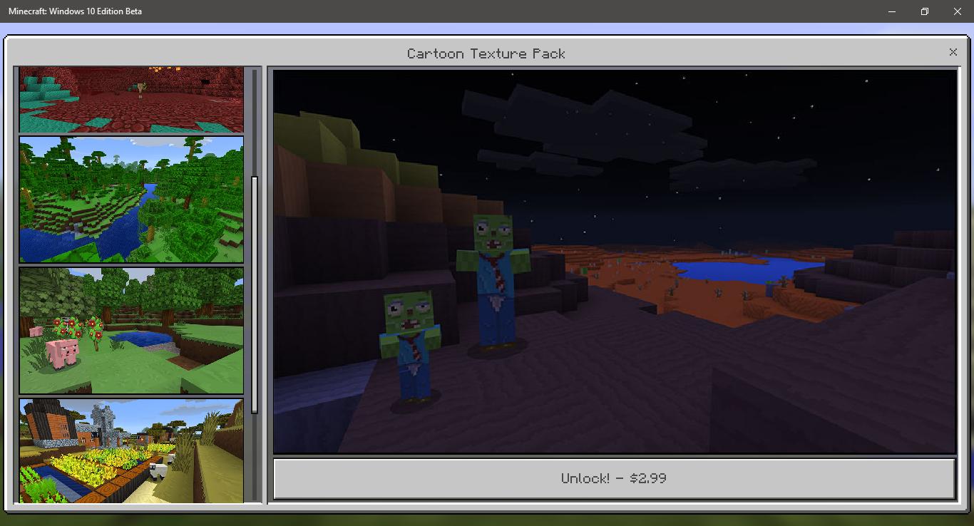 Minecraft Cartoon Textures for Windows 10 Beta and Pocket Edition